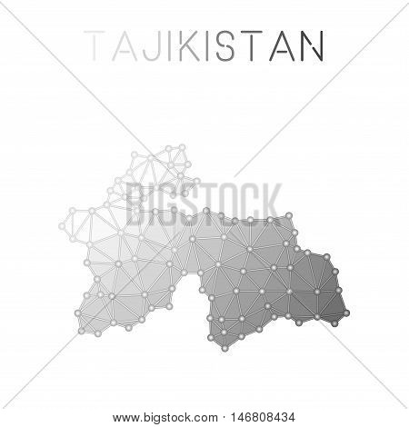 Tajikistan Polygonal Vector Map. Molecular Structure Country Map Design. Network Connections Polygon