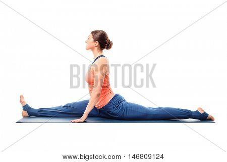 Woman doing Hatha Yoga asana Hanumanasana - monkey pose posture (splits)  isolated on white background