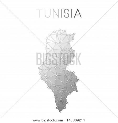 Tunisia Polygonal Vector Map. Molecular Structure Country Map Design. Network Connections Polygonal
