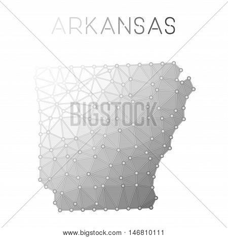 Arkansas Polygonal Vector Map. Molecular Structure Us State Map Design. Network Connections Polygona