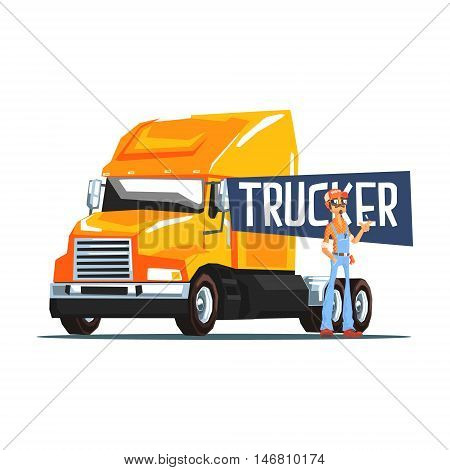 Trucker Standing Next To Heavy Yellow Long-Distance Truck Cool Colorful Vector Illustration In Stylized Geometric Cartoon Design