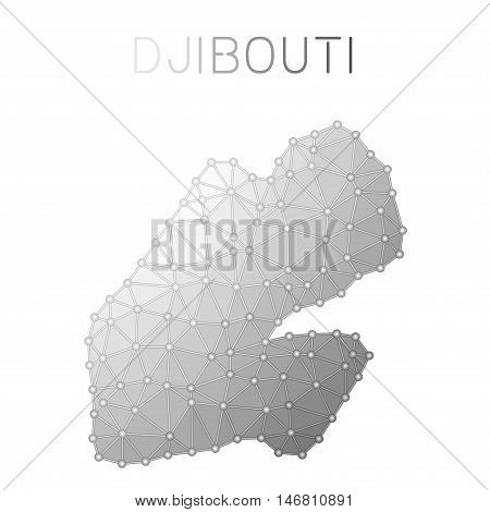 Djibouti Polygonal Vector Map. Molecular Structure Country Map Design. Network Connections Polygonal