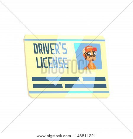 Trucker Drivers License Truck Driver Job Related Item Cool Colorful Vector Illustration In Stylized Geometric Cartoon Design