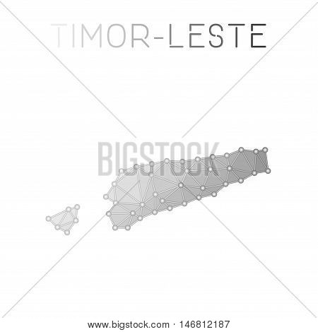 Timor-leste Polygonal Vector Map. Molecular Structure Country Map Design. Network Connections Polygo