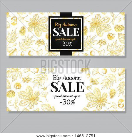 Autumn sale vector gold banner with leaves and berry. Hand drawn fall illustration with frame and botanical elements. Great for banner voucher offer coupon black friday sale.
