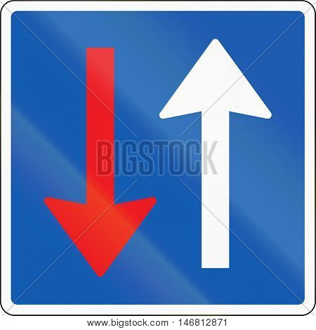 Road sign used in Denmark - Priority over oncoming vehicles. poster