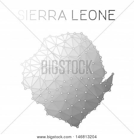 Sierra Leone Polygonal Vector Map. Molecular Structure Country Map Design. Network Connections Polyg