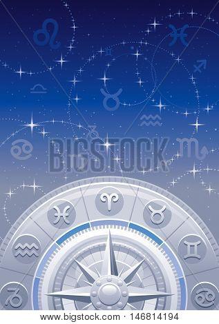 Zodiac wheel vector illustration, night sky background, astrology horoscope signs. Aries, Leo, Sagittarius, Taurus, Virgo, Capricorn, Gemini, Libra, Aquarius, Cancer, Scorpio, Pisces horoscopes icons