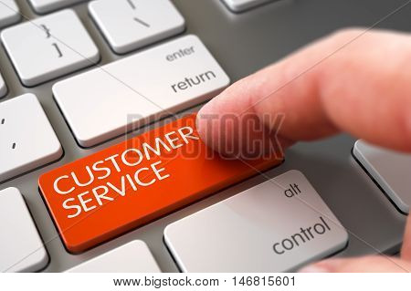 Close Up view of Male Hand Touching Orange Customer Service Computer Key. 3D Render.