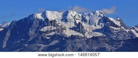 High mountains in the Bernese Oberland Switzerland. Bluemlisalp mountain range. View from Mt Niesen.