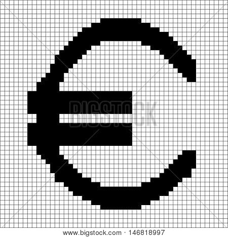 Sign pixel euro black in grid. Monochrome icon isolated on white lattice background. Pixelated design. Logo for business. Europe finance symbol made of pixels. Mark of commerce. Vector illustration