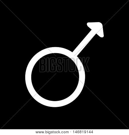 Gender sign spear and shield of Mars. Male monochrome symbol isolated on black background. Abstract plane mark with boy sex icon. Gentlemen concept. Romantic silhouette. Stock VECTOR illustration