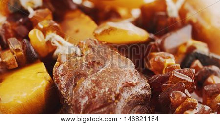 The raw amber from coast of the Baltic sea