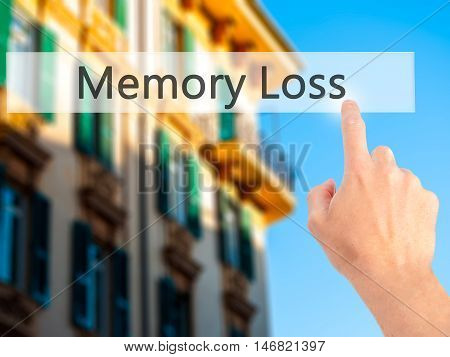 Memory Loss - Hand Pressing A Button On Blurred Background Concept On Visual Screen.