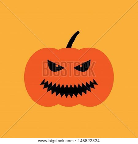 Halloween pumpkin sign. Image of jack-o-lantern. Color icon isolated on orange background. Symbol of autumn holiday. Logo for party. Angry face on vegetable. Mark of All hallows' day. Stock vector
