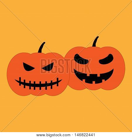 Set halloween pumpkins sign. Image of jack-o-lantern. Color icon isolated on orange background. Symbol of autumn holiday. Logo for party. Angry and horror face on vegetable. Mark of All hallows day.