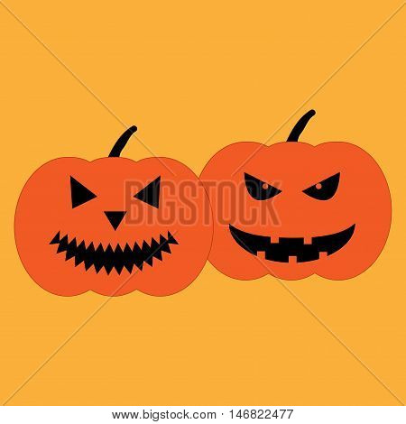Set of halloween pumpkins sign. Image of jack-o-lantern. Color icon isolated on orange background. Symbol of autumn holiday. Logo for party. Smirk and scary face on vegetable. Mark of All hallows day.