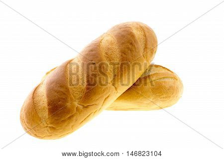 Long loaf bread isolated on white  background.