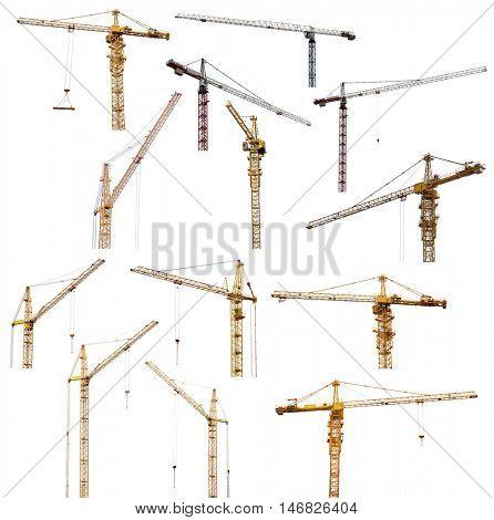 set of thirteen hoisting cranes isolate on white background