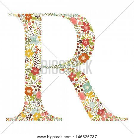 R letter with decorative floral ornament