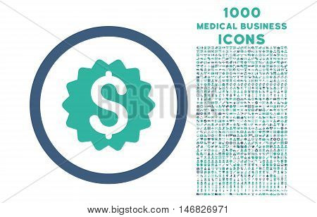 Financial Reward Seal rounded vector bicolor icon with 1000 medical business icons. Set style is flat pictograms, cobalt and cyan colors, white background.