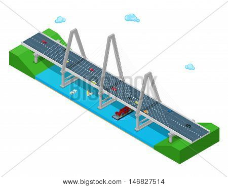 Isometric River Bridge with Ship Boat Highway and Cars. Flat 3d Vector illustration