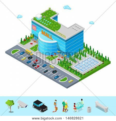 Isometric Shopping Mall Building with 3D Imax Cinema Park and Fountain. Flat 3d Vector illustration