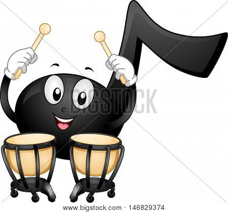 Mascot Illustration of a Black Musical Note Happily Pounding a Pair of Timpani