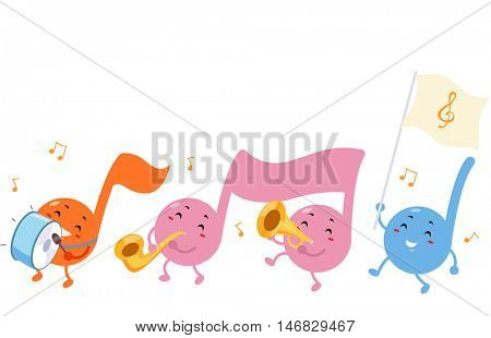 Cute Mascot Illustration of Musical Notes Marching While Playing Musical Instruments