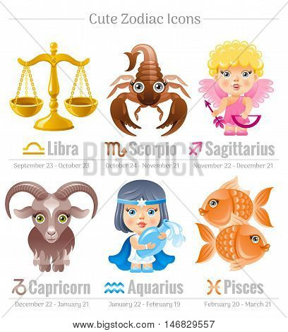 Zodiac astrological signs icon set. Cute cartoon characters. Abstract template Sagittarius, Capricorn, Libra, Aquarius, Scorpio, Pisces vector icons. Horoscope modern illustration. White background poster