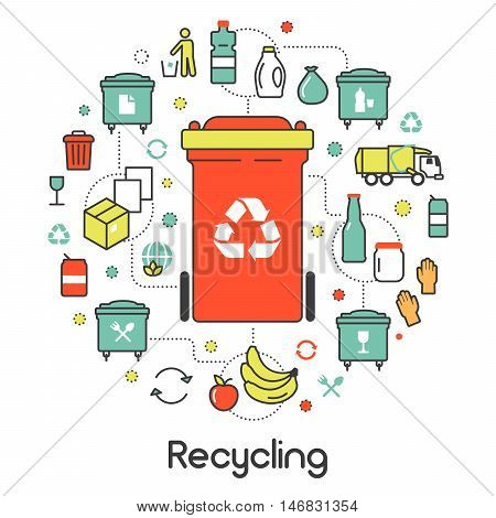 Garbage Waste Recycling Line Art Thin Vector Icons Set with Trashcans
