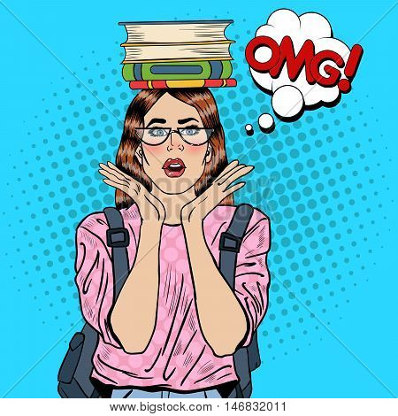 Pop Art Young Pretty Woman Student with Books on her Head. Vector illustration