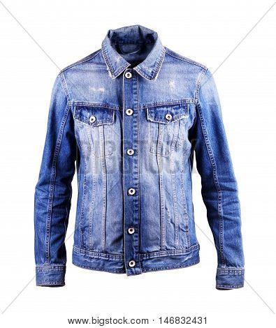 blue denim jacket isolate on a white background