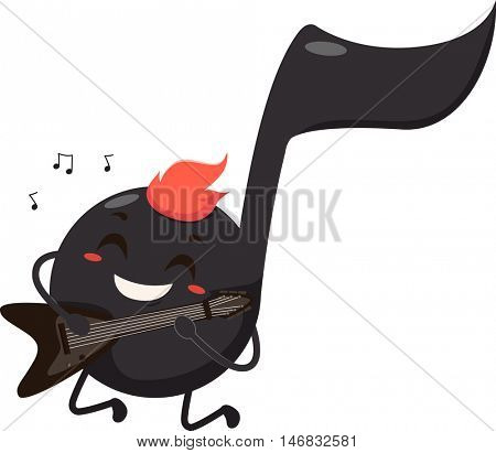 Mascot Illustration of a Black Musical Note Dressed as a Rocker Playing the Electric Guitar