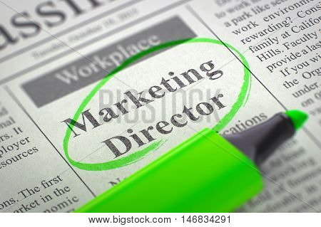 Newspaper with Jobs Marketing Director. Blurred Image with Selective focus. Job Seeking Concept. 3D Render.
