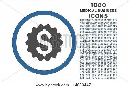 Financial Reward Seal rounded vector bicolor icon with 1000 medical business icons. Set style is flat pictograms, cobalt and gray colors, white background.