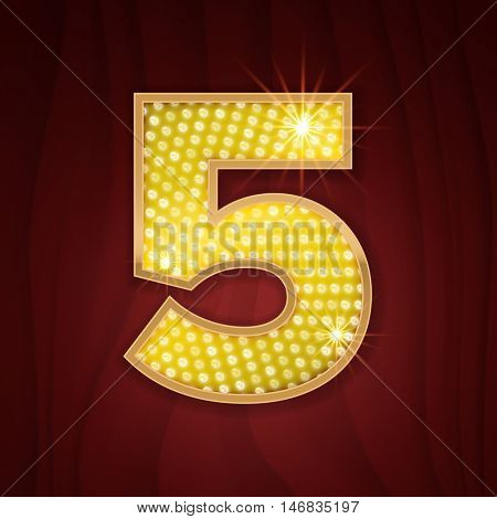 Gold light lamp bulb font number 5 Five. Sparkling glitter design in style of vegas casino, burlesque cabaret and broadway show decoration. Shining numbers symbols of alphabet set for light board