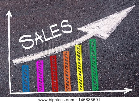 Colorful Graph Drawn Over Tarmac And Directional Arrow