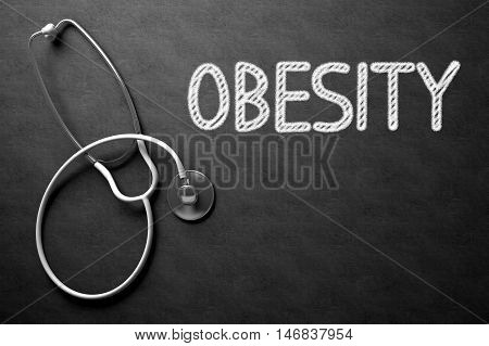 Medical Concept: Black Chalkboard with Obesity. Medical Concept: Top View of White Stethoscope on Black Chalkboard with Medical Concept - Obesity. 3D Rendering.