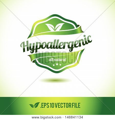 Hypoallergenic badge label seal stamp logo text design green leaf template vector eps