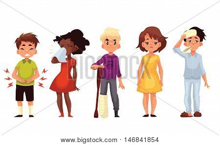 Set of sick children cartoon style illustration isolated on white background. Kids, boys and girls, having cold, running nose, stomach ache, broken leg and chickenpox