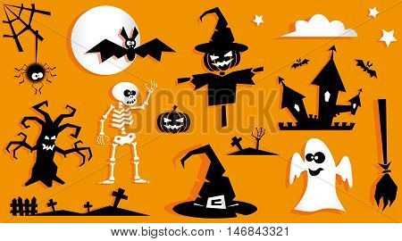 Set of funny halloween symbol. Pumpkin scarecrow ghost bat tree spider crosses witch hat broom skeleton moon isolated on orange background. Vector in flat or kids paper applique style poster