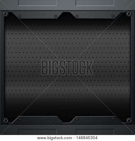scifi wall. black carbon fiber wall and rivet. metal background and texture 3d illustration. technology concept.