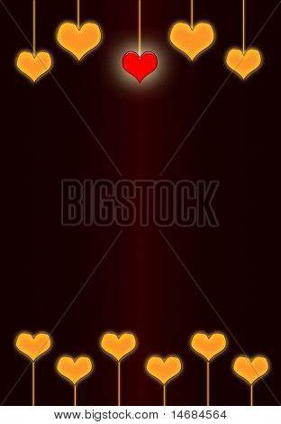 Gold mit dunklen rot-Vintage-Valentinstag