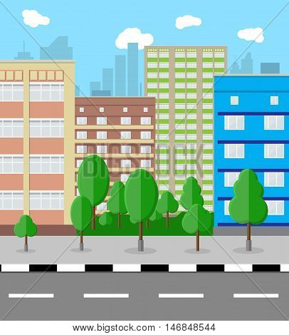 Modern City View. Cityscape with office and residental buildings, trees, road, blue background with clouds. vector illustration in flat style