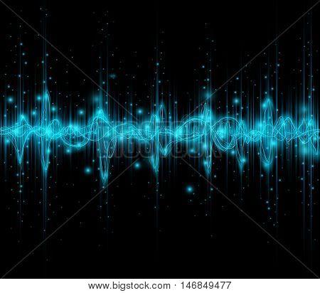 Blue colored equalizer or waveform design, vector illustration of musical pulse