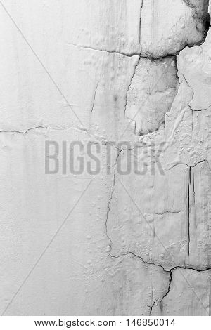 Cracked White Wall On The Building. Ole White Wall.