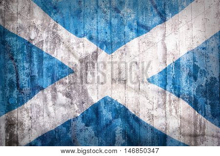 Grunge Style Of Scotland Flag On A Brick Wall