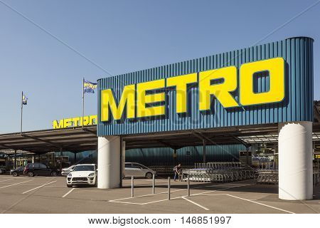 SIEGEN GERMANY - SEP 8 2016: METRO store in Siegen. North Rhine Westphalia Germany. METRO is a German global diversified retail and wholesalegroup based in Dusseldorf