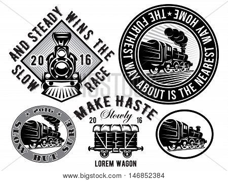set of vector templates with retro locomotive wagon vintage train logotype illustration to topic railroad